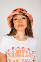Load image into Gallery viewer, Peach Daisy Fluffy Bucket Hat