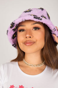 Lilac Daisy Fluffy Bucket Hat