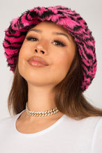 Load image into Gallery viewer, Pink Zebra Fluffy Bucket Hat
