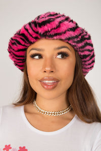 Pink Zebra Fluffy Bucket Hat