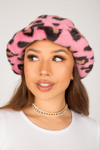 Pink Leopard Fluffy Bucket Hat