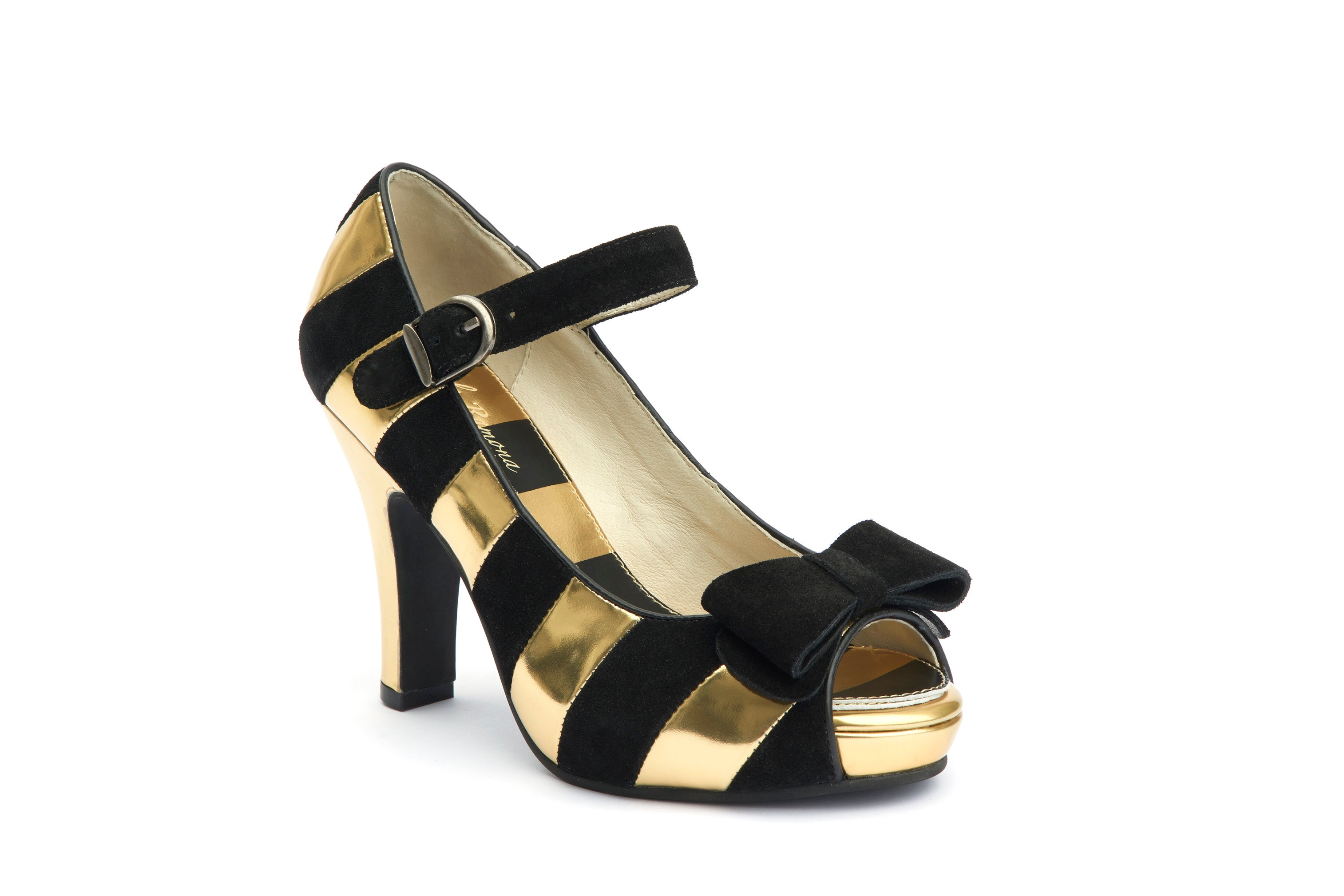 Pumps Comfy High Heels Angie Stripy Black Gold - Lola Ramona - Bombus