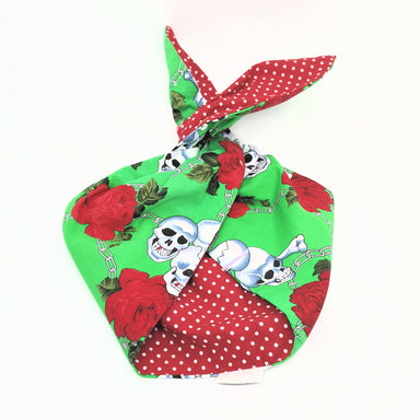 Hairband Green Skull And Roses / Red Polkadot - BeBop - Bombus