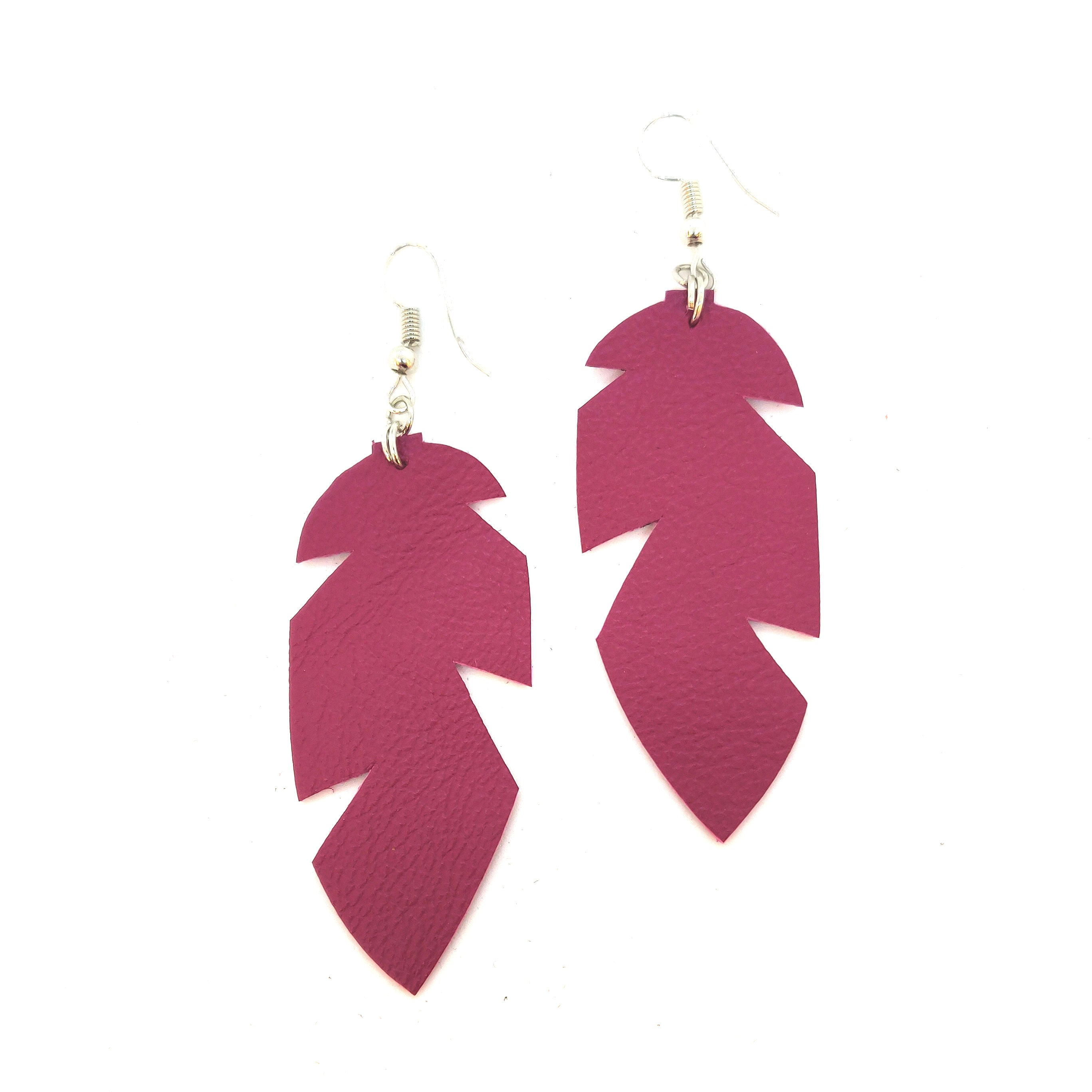 Earrings Small Feather Pink - RokrokInc. - Bombus