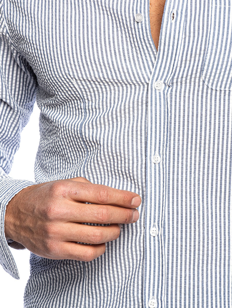 JOSH STRIPED KOREAN SHIRT IN BLUE AND WHITE