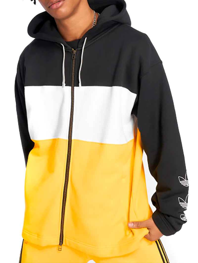 FULL ZIP HOODY IN BLACK AND YELLOW