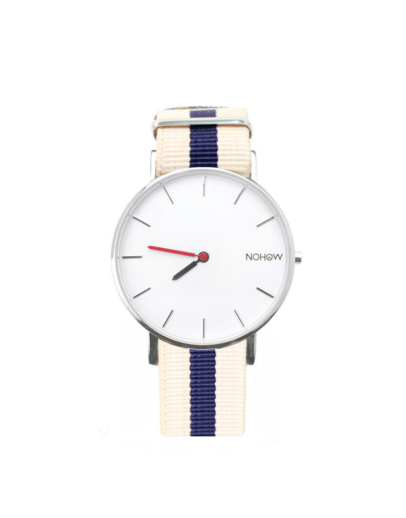 WHITE PURE WATCH CREAM AND BLU FABRIC STRAP