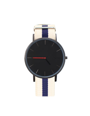 BLACK PURE WATCH CREAM AND BLU FABRIC STRAP