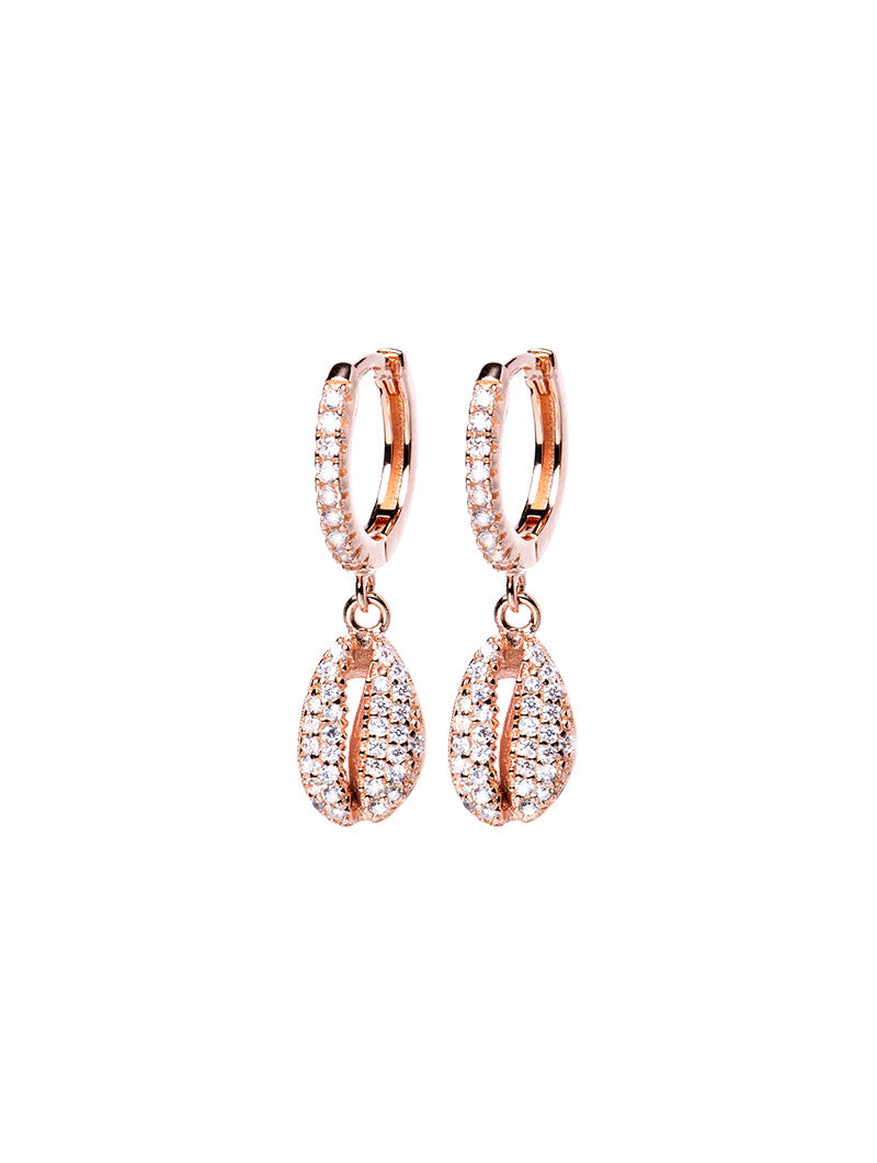 ARIEL EARRINGS IN ROSE GOLD WITH ZIRCONS AND SHELL PENDANT