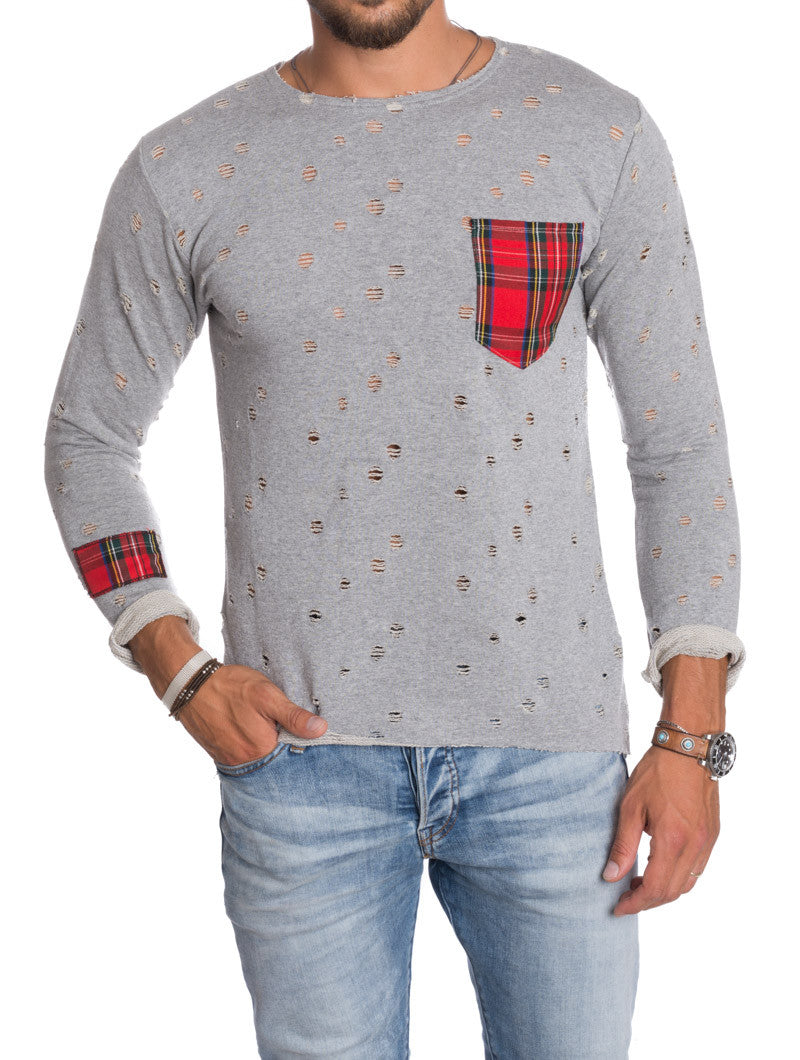 GREY POCKET HOOLED SWEATSHIRT