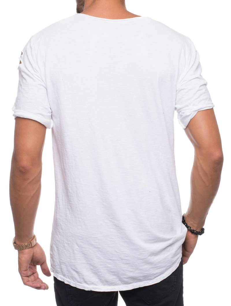 HOLE COTTON T-SHIRT IN DISTRESSED WHITE