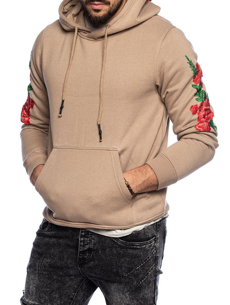 ROSES POCKET SWEATSHIRT IN BEIGE