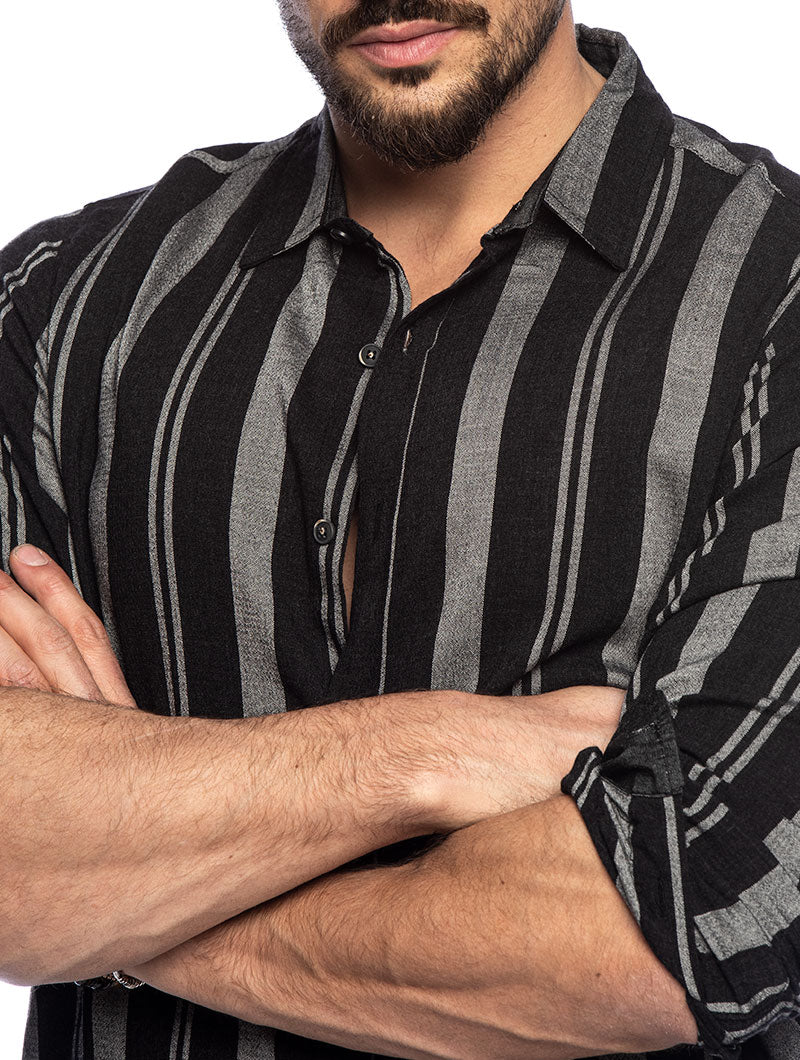 KARMA STRIPED SHIRT IN BLACK AND GREY