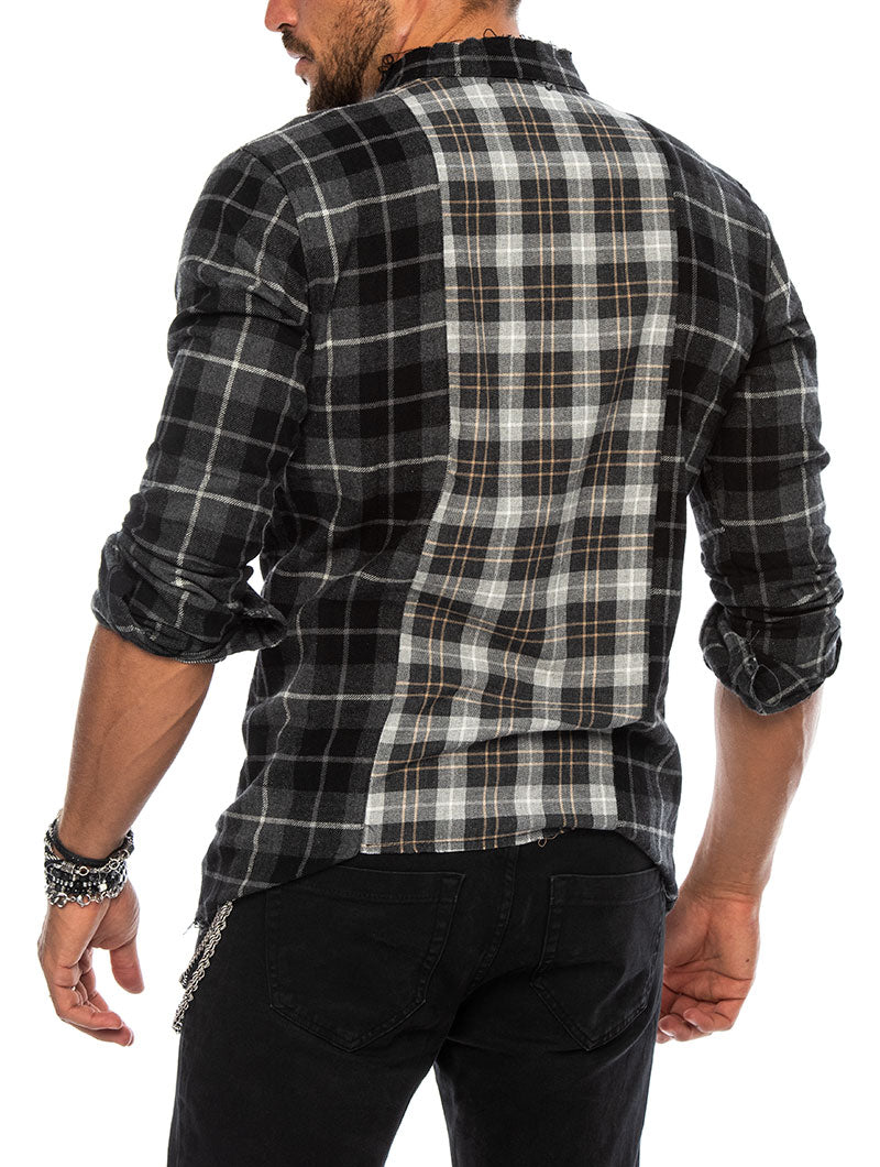 SIMON CHECKED SHIRT IN GREY