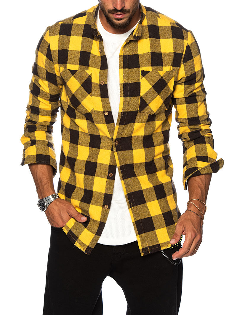 CLAY CHECKED SHIRT IN BROWN AND YELLOW