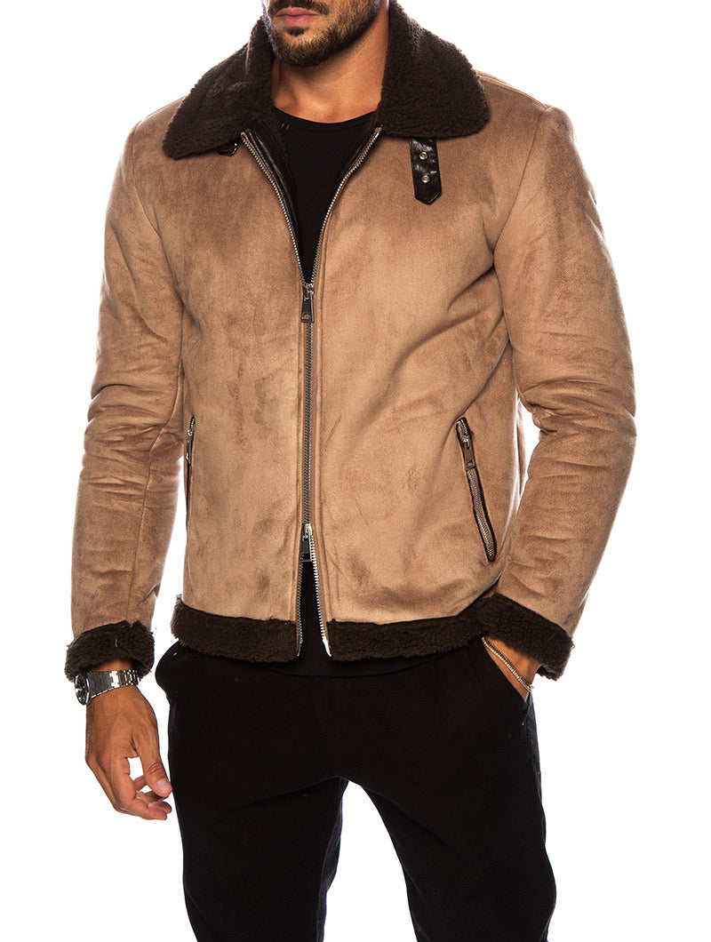 YUKON SHEARLING JACKET IN CAMEL AND BROWN