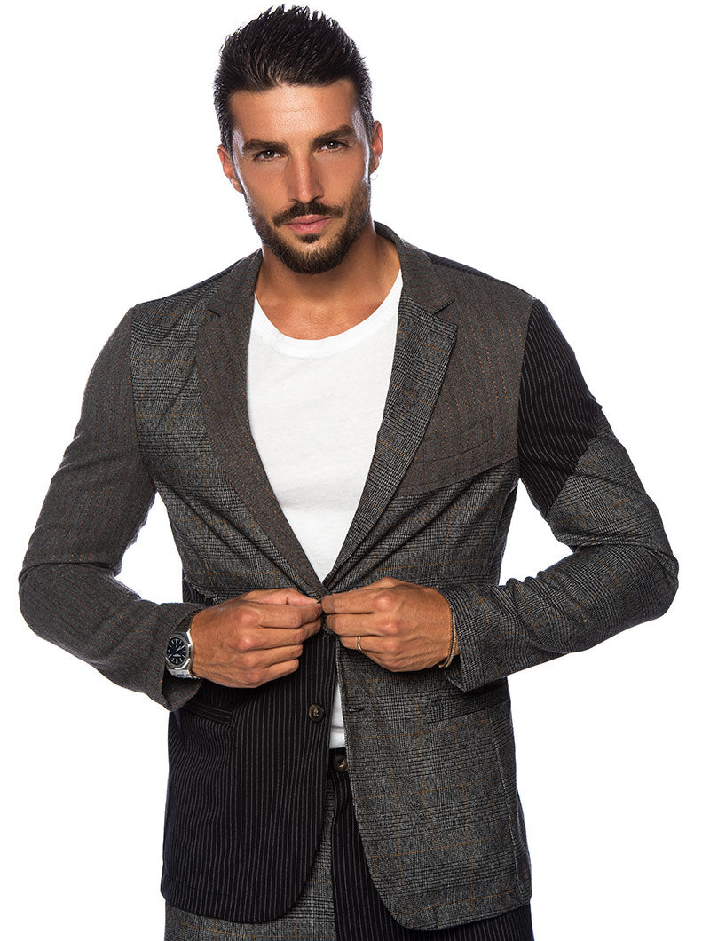 AUGUST PATCHWORK BLAZER IN BLUE AND GREY