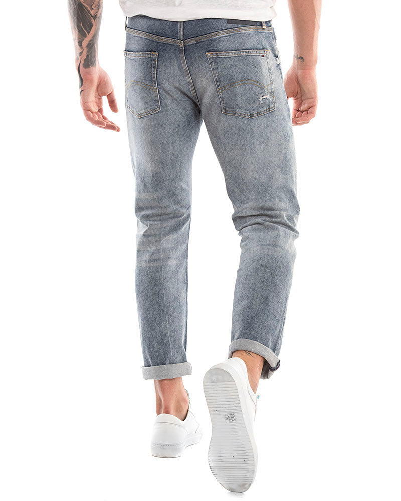 INDIGO TARTAN DESTRUCTED JEANS