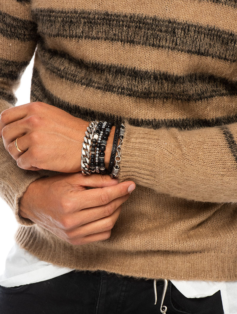 MACUMBA STRIPED SWEATER IN CAMEL AND BLACK