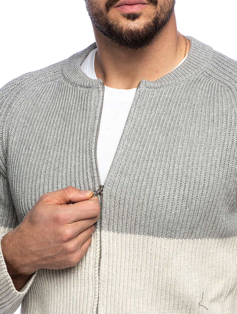 MINYA COTTON SWEATER IN GREY AND CREAM