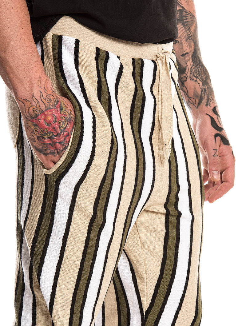 AMIN STRIPED SWEATSHORTS IN GREEN, BEIGE AND WHITE