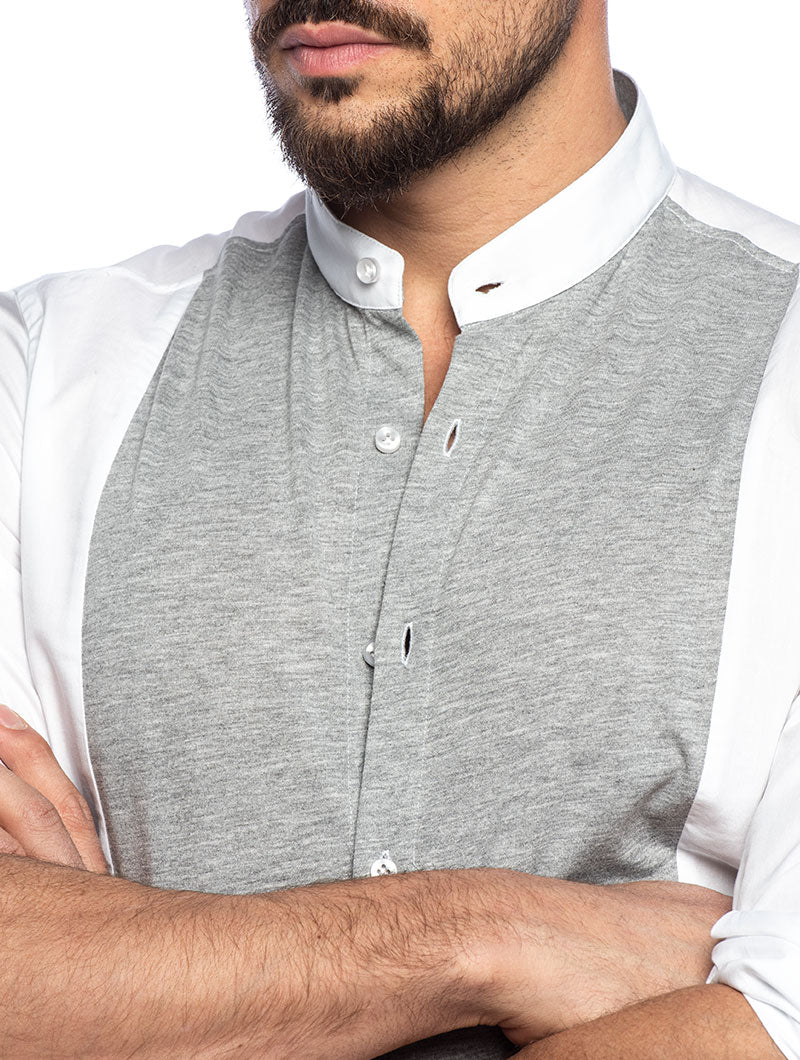 ROLAND COTTON SHIRT IN WHITE AND GREY