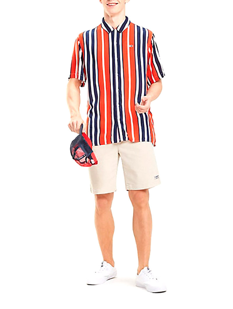 TJM STRIPE CAMP SHIRT IN FLAME SCARLET