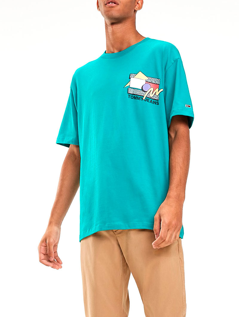 TJM RETRO GEO TEE IN DYNASTY GREEN