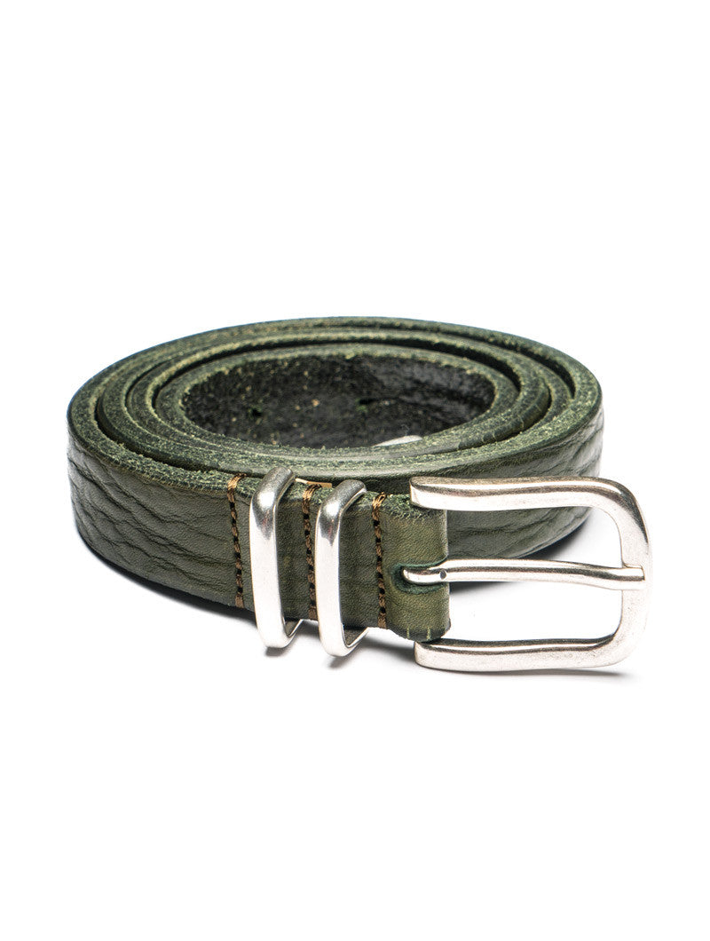 LEATHER METAL TIPPED BELT IN GREEN