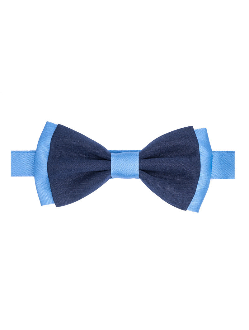 BLUE & NAVY DOUBLE COLOURED BOW TIE