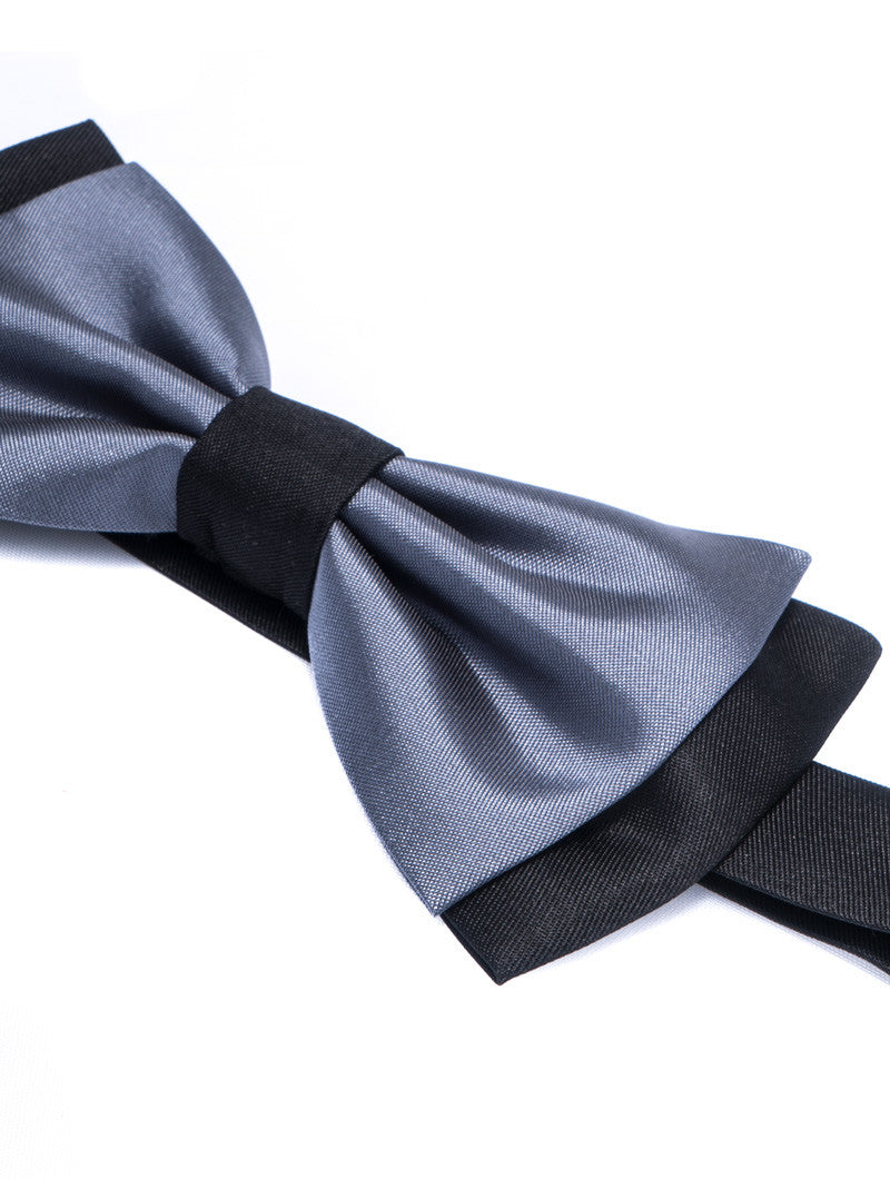 GREY & BLACK DOUBLE COLOURED BOW TIE