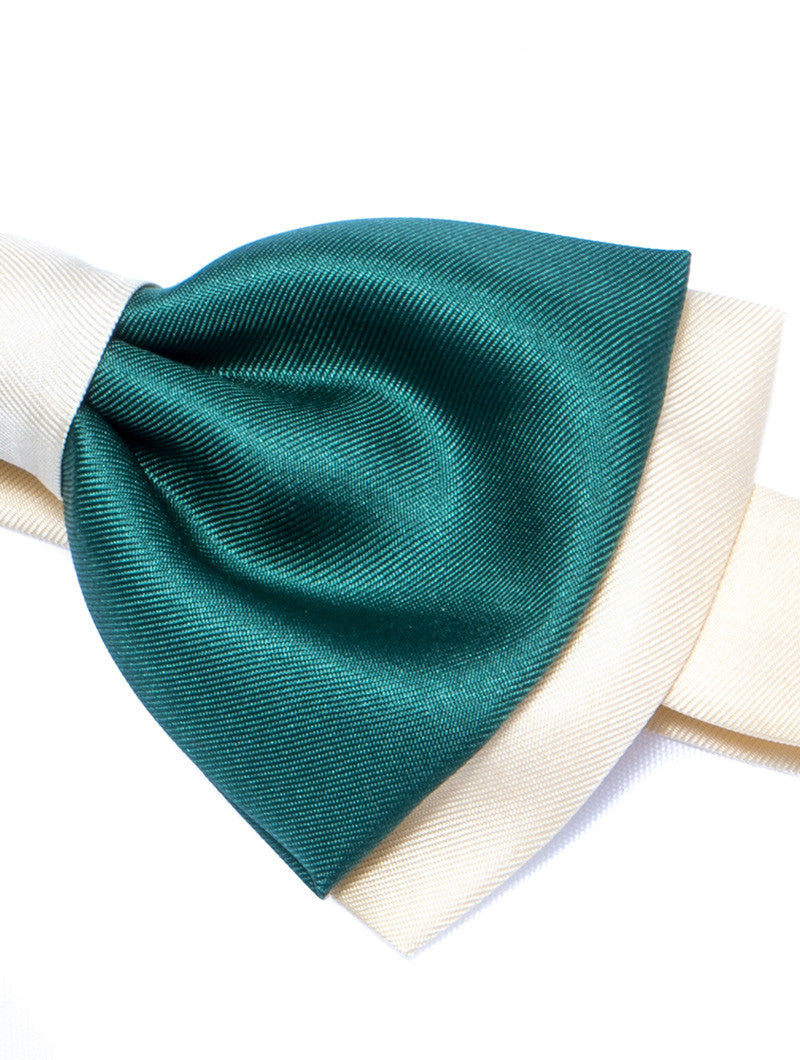 CHAMPAGNE & GREEN DOUBLE COLOURED BOW TIE