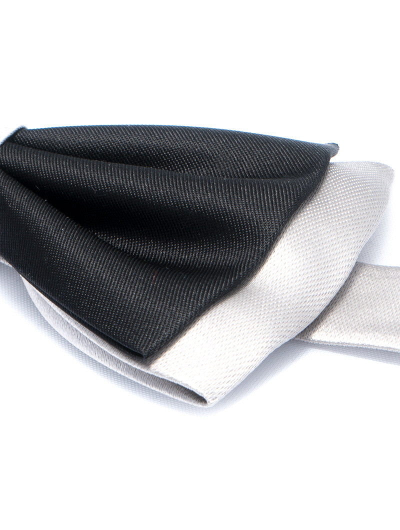 BLACK & GREY DOUBLE COLOURED BOW TIE