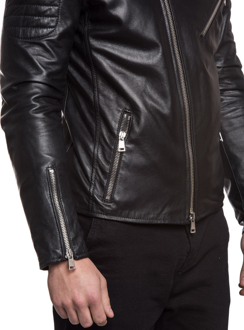 MEN'S CLOTHING | LEATHER BIKER JACKET | BIKER JACKET | MOTORCYCLE JACKET | VINTAGE | BLACK | NOHOW X MDV | NOHOW