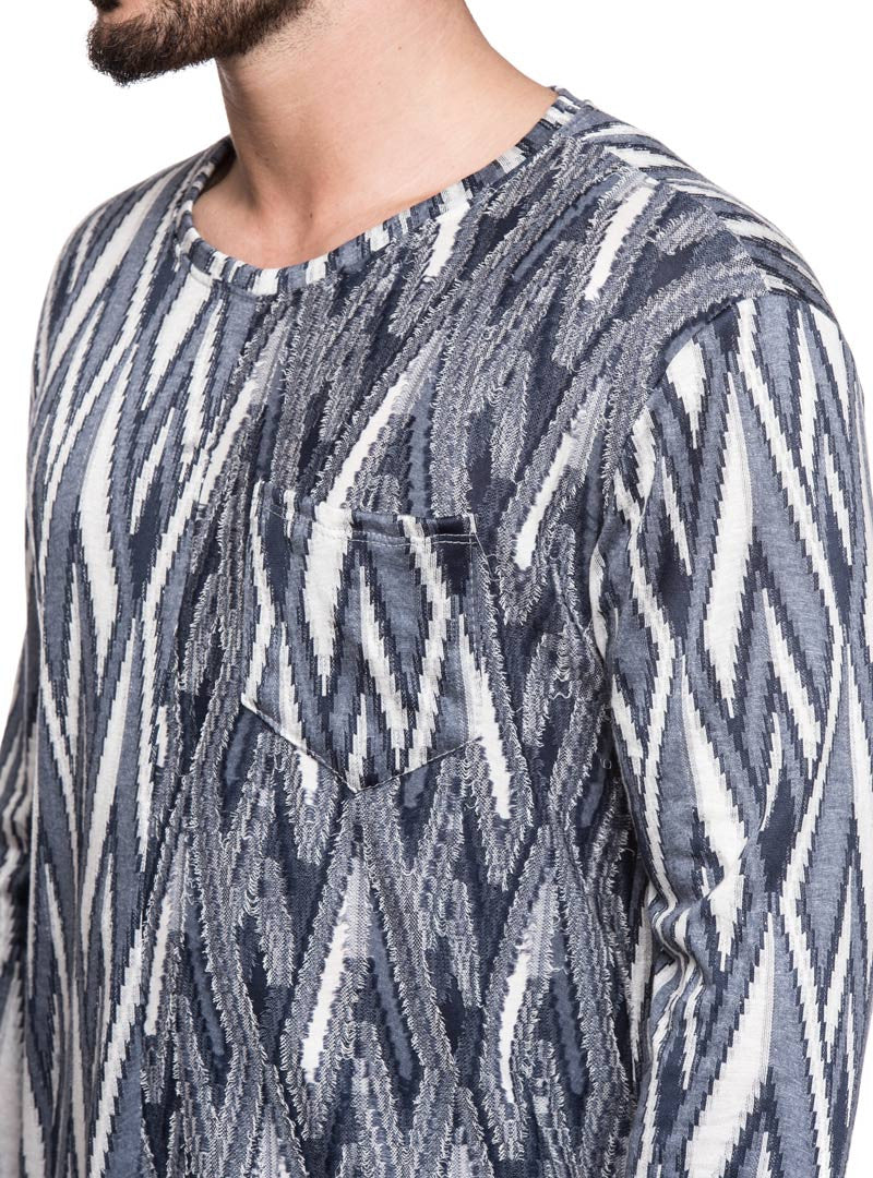 MEN'S CLOTHING | GEOMETRIC SWEATER | BLACK | GREY | WHITE | CHEST POCKET | LONG SLEEVES | CREW NECK | SPLIT FRONT HEM | COTTON KNIT | NOHOW