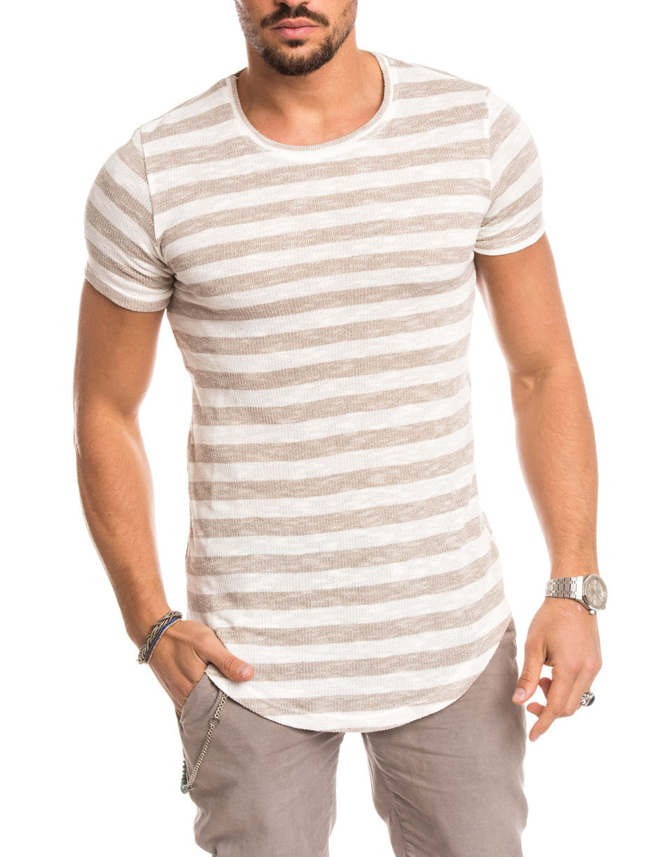 MEN'S CLOTHING | SAND STRIPED T-SHIRT | MUSCLE FIT | NOHOW