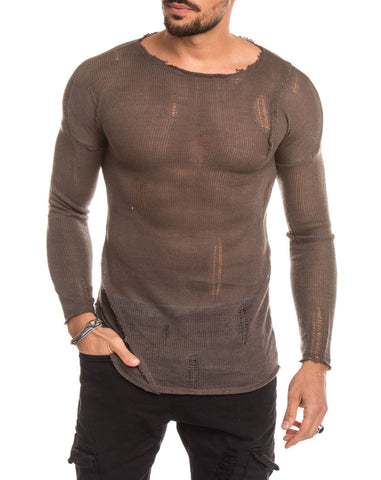 MEN'S CLOTHING | MUD STRAPS SWEATER | FINE KNIT | BROWN | SCOOP NECK | DISTRESSING | LONG SLEEVES | SKINNY FIT | NOHOW SUMMER COLLECTION | NOHOW