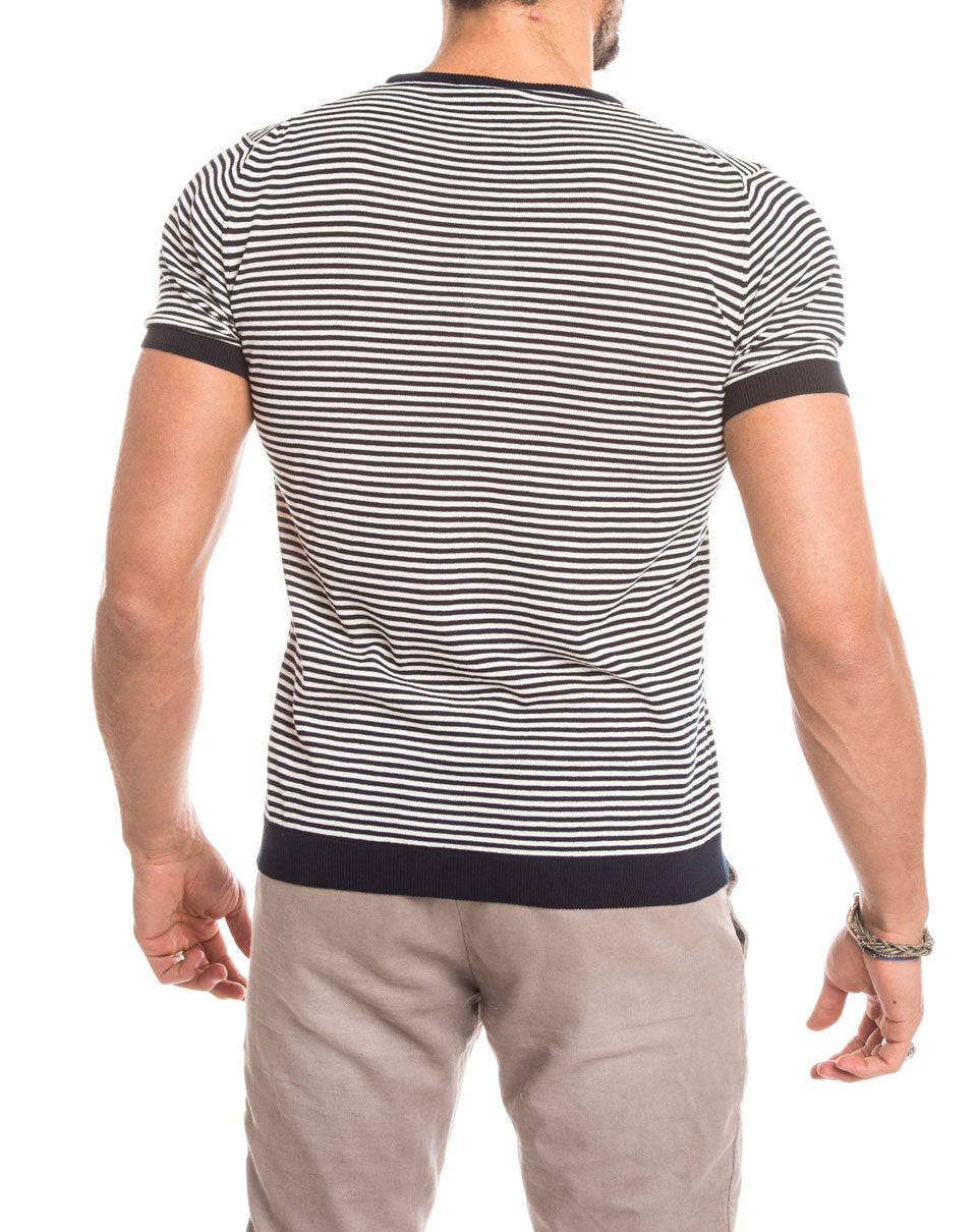 MEN'S CLOTHING | BLUE CREAM STRIPED T-SHIRT | KNITTED T-SHIRT | COTTON KNIT | SHORT SLEEVES | CREW NECK | SKINNY FIT | NOHOW STREET COUTURE | NOHOW