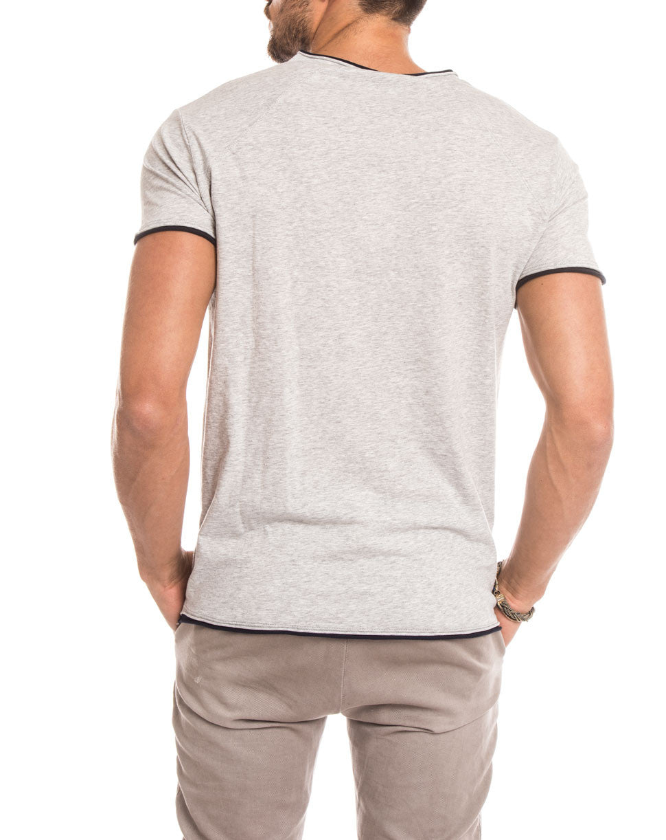 MEN'S CLOTHING | GREY BLUE RAGLAN T-SHIRT | RAGLAN SLEEVES | CREW NECK | SHORT SLEEVES | RAW EDGES | SLIM FIT | NOHOW STREET COUTURE | NOHOW