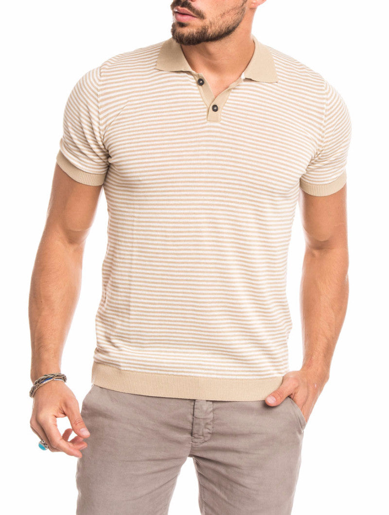 MEN'S CLOTHING | BEIGE CREAM STRIPED POLO | RIBBED COLLAR AND CUFFS |  BUTTON PLACKET |