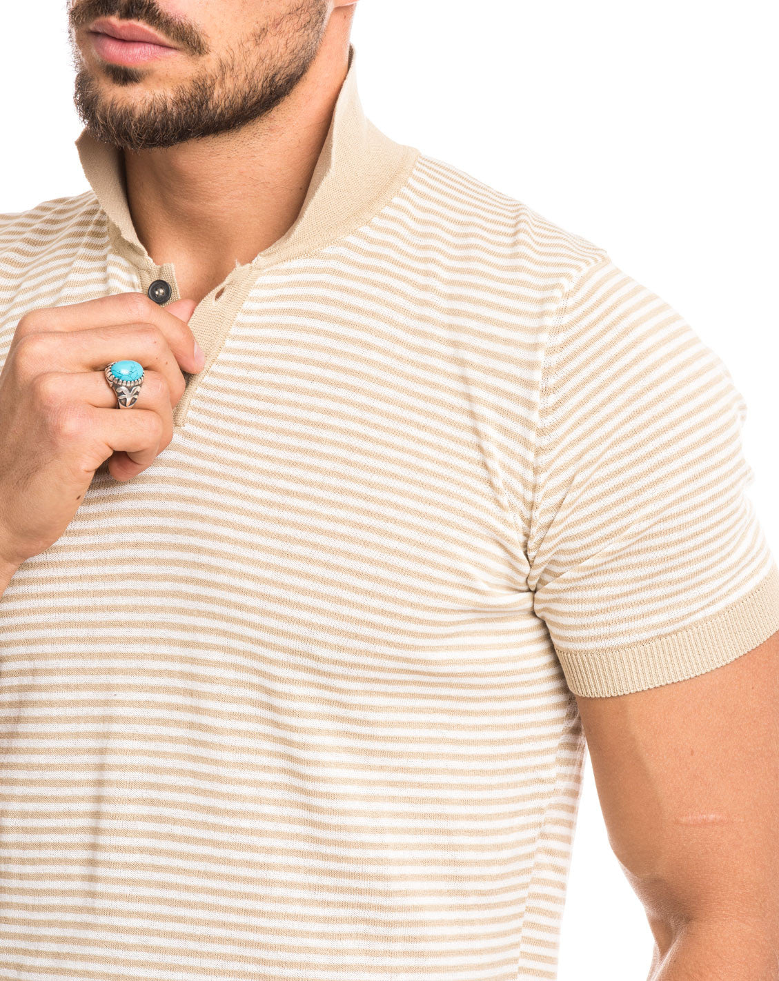MEN'S CLOTHING | BEIGE CREAM STRIPED POLO | RIBBED COLLAR AND CUFFS | BUTTON PLACKET | NOHOW STREET COUTURE | NOHOW