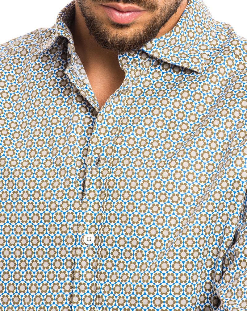 MEN'S CLOTHING | FLOWER PATTERNED SHIRT | LIGHT BLUE SHIRT | FLORAL PRINT | | CUTAWAY COLLAR | LONG SLEEVES | SKINNY FIT | NOHOW STREET COUTURE | NOHOW