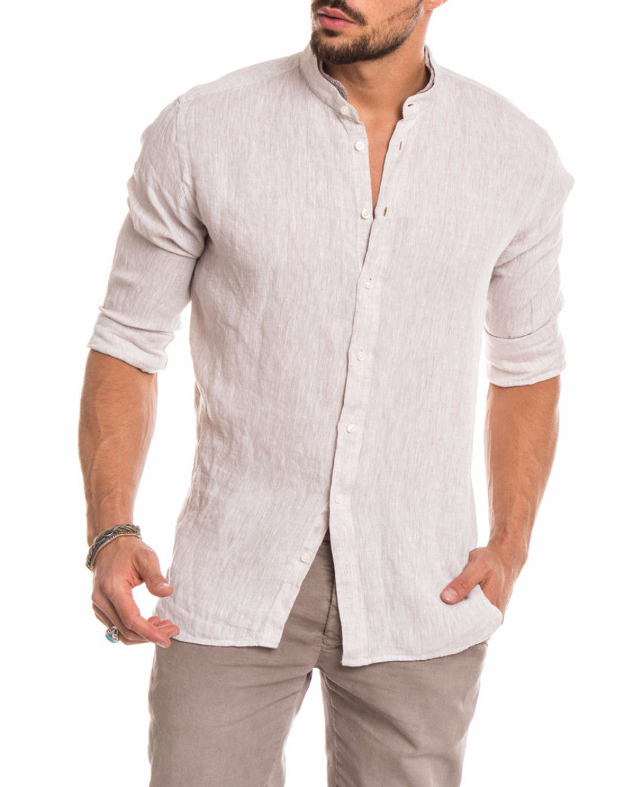 MEN'S CLOTHING | BEIGE LINEN KOREAN SHIRT | KOREAN COLLAR | GRANDAD SHIRT | SUMMER SHIRT | LONG SLEEVES | PURE LINEN | NOHOW STREET COUTURE | NOHOW