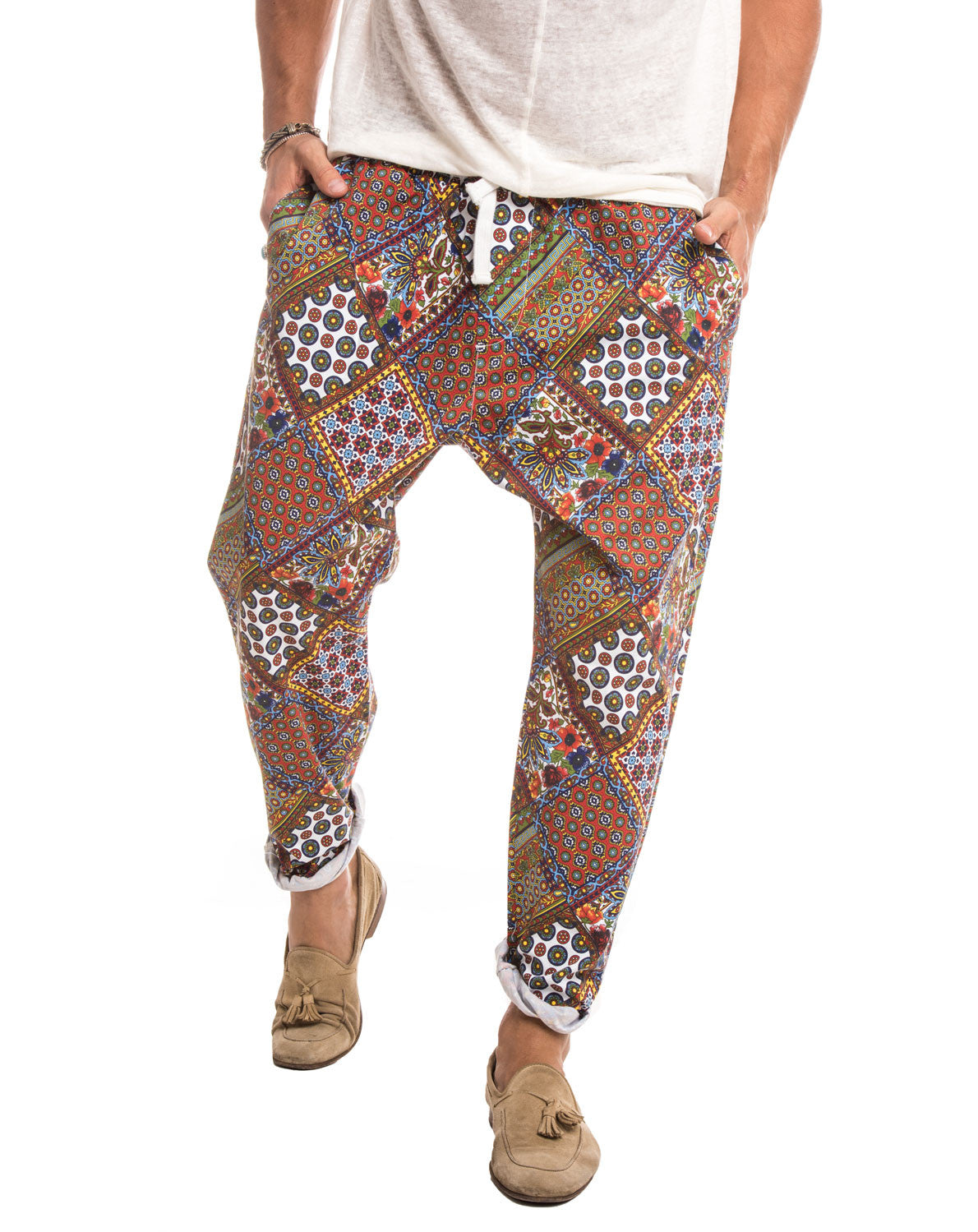 MEN'S CLOTHING | COACHELLA RED PANTS | BOHO TROUSERS | MEN'S BOTTOMS | TAPERED LEG | RELAXED FIT | NOHOW STREET COUTURE | NOHOW