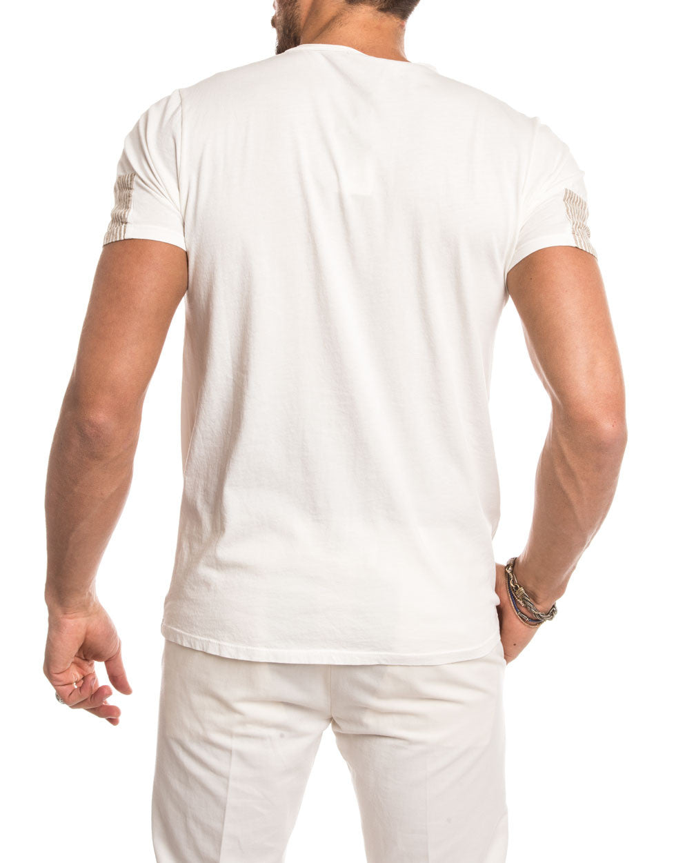 MEN'S CLOTHING | NATURAL CREW NECK T-SHIRT | WHITE | BEIGE | SHORT SLEEVES | TEE-SHIRT | SLIM FIT | NOHOW STREET COUTURE | NOHOW