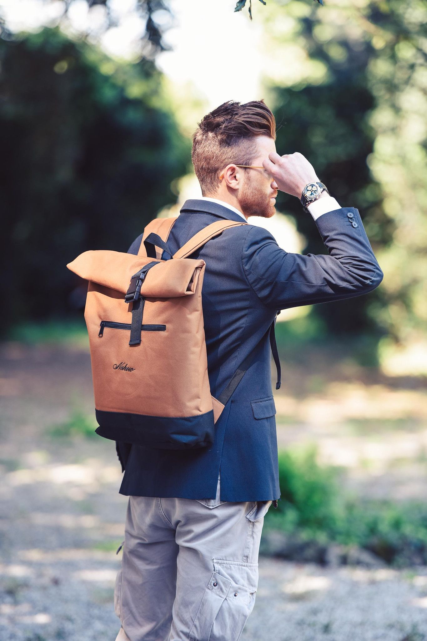 Nohow Roll Top Black Backpack