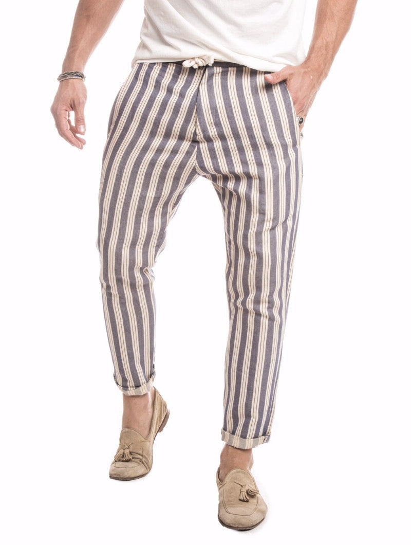 MEN'S CLOTHING | NATURAL BLUE PANTS | STRIPED | TAPERED FIT | NOHOW STREET COUTURE | NOHOW