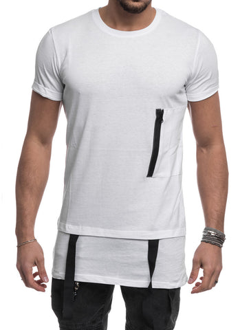 MEN'S CLOTHING | SUSPENDER T-SHIRT | MOCK SUSPENDER TEE | TEE-SHIRT | WHITE| LONGLINE CUT | SHORT SLEEVES | SKINNY FIT | NOHOW SUMMER COLLECTION | NOHOW