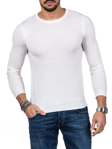 MEN'S CLOTHING | HOLDEN CREWNECK SWEATER IN WHITE | MUSCLE FIT | NOHOW STREET COUTURE