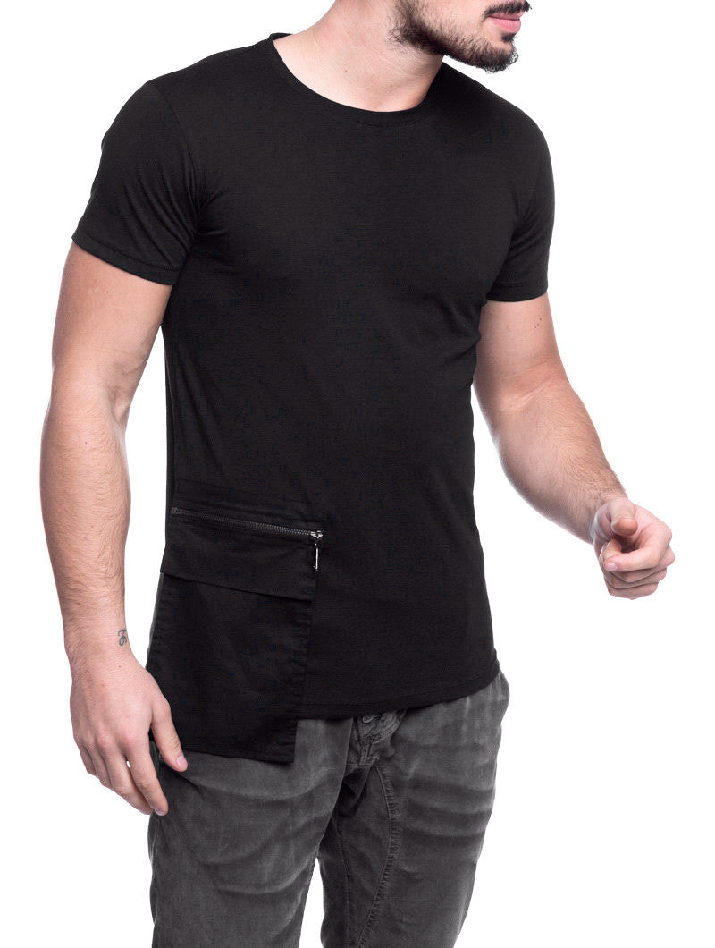 MEN'S CLOTHING | 2130 T-SHIRT | BLACK | COTTON | ZIP POCKET PATCH | SHORT SLEEVES | NOHOW STREETWEAR COLLECTION | NOHOW